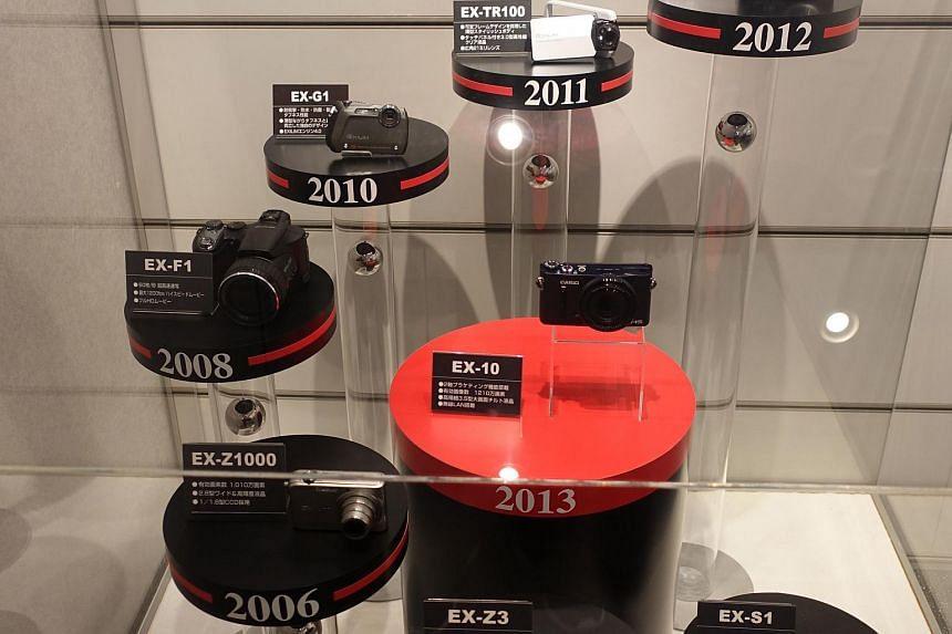 Casio's Exilim series of cameras through the years exhibited at the Futurerium.