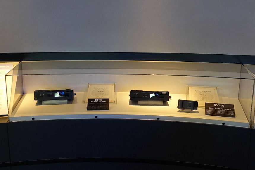 The two Casio DC-90 prototypes with Casio QV-10 camera in the Futurerium exhibition.
