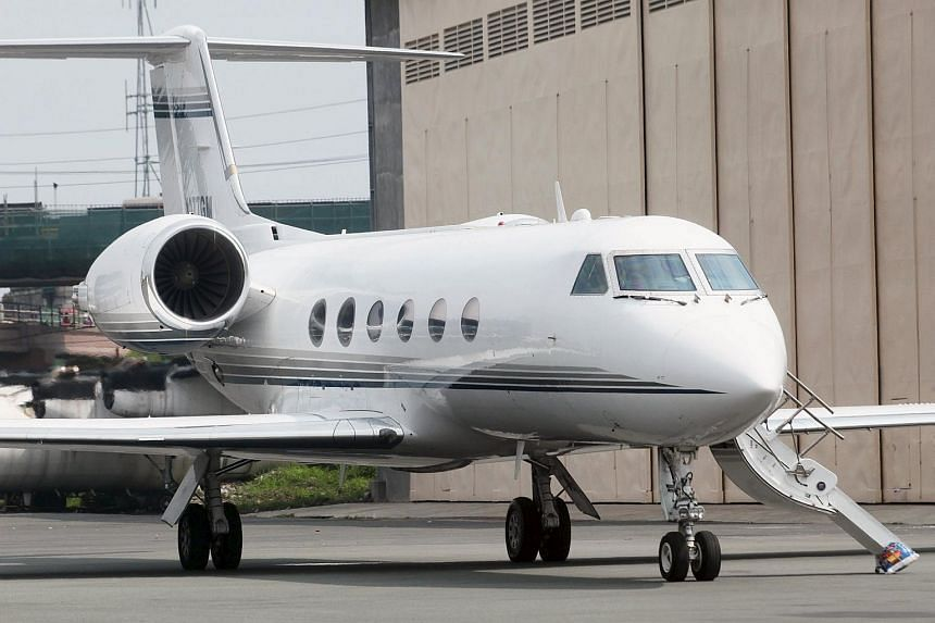 A private jet Gulf Stream chartered by U.S. singer Chris Brown at a private hangar of a Manila airport on July 22, 2015.