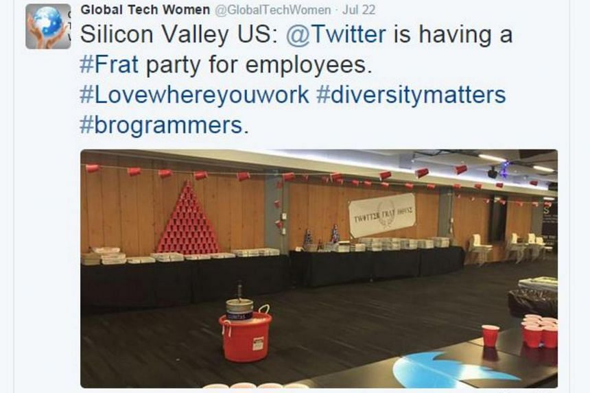 The frat party image was tweeted by the group Global Tech Women, among others.