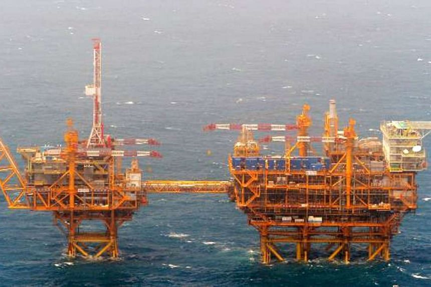 Two Chinese-built platforms, the one seen at left which was observed on June 2014 and the other on March 2015, in the East China Sea.