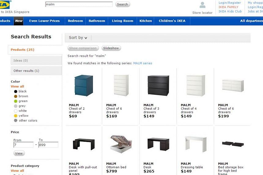 The range of Malm chests of drawers sold by Ikea Singapore.