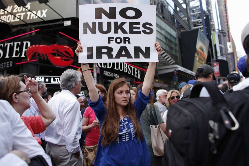 Protesters rallying against the Iran nuclear deal in Times Square.