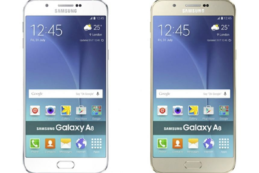 Galaxy A8 4G+, white (left) and gold.
