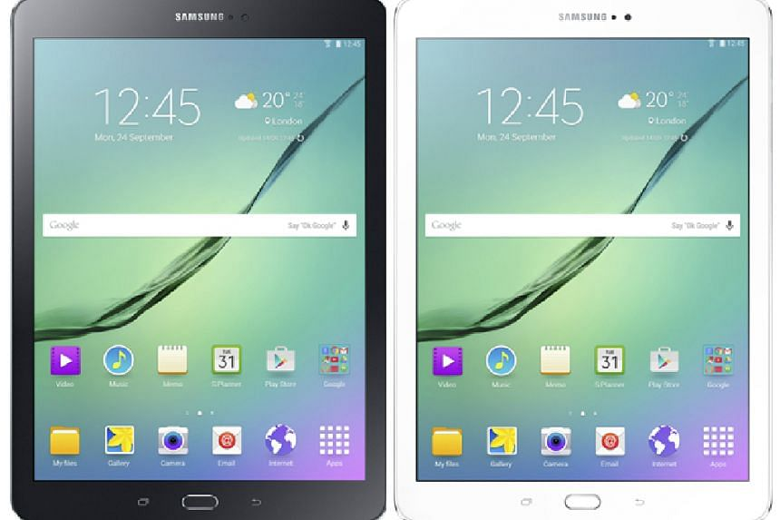 Galaxy Tab S2, black (left) and white.