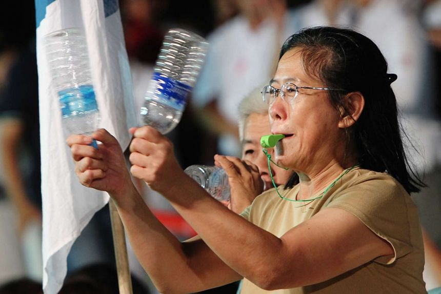 A supporter at a PAP rally for Moulmein-Kallang GRC on April 21, 2011.