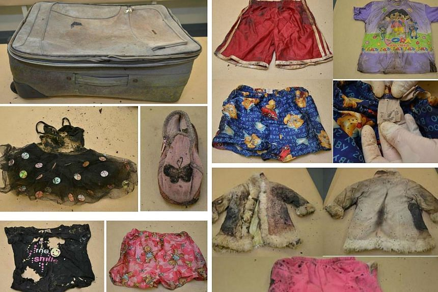 A montage of photos showing a suitcase (top left) which contained child's clothing and the bones of a child when it was found on July 14, 2015.