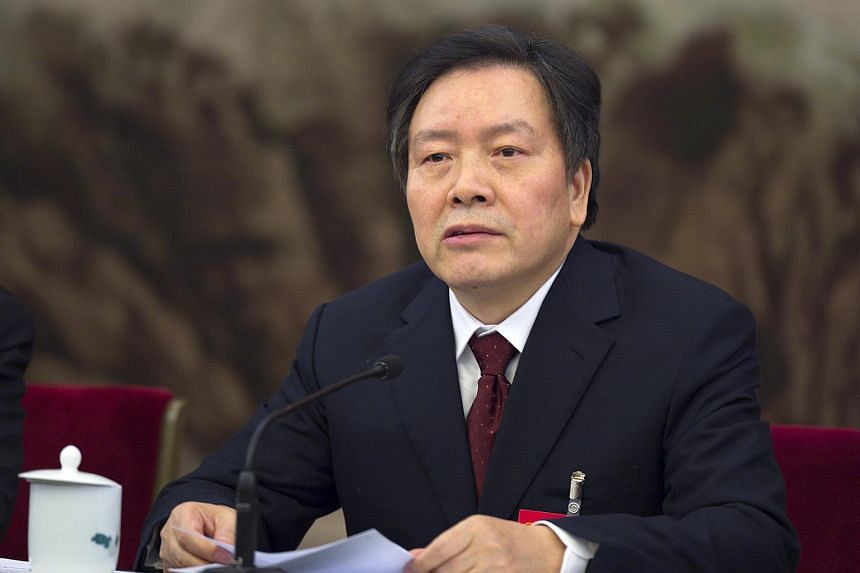Zhou Benshun speaking at a session of the National People's Congress in Beijing on March 7, 2015.