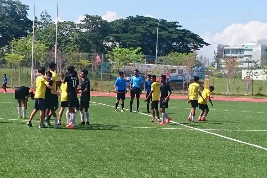 Hong Kah Secondary School clinched their third National B Division football championship in four years after an emphatic 6-0 victory over St Joseph's Institution on Friday.