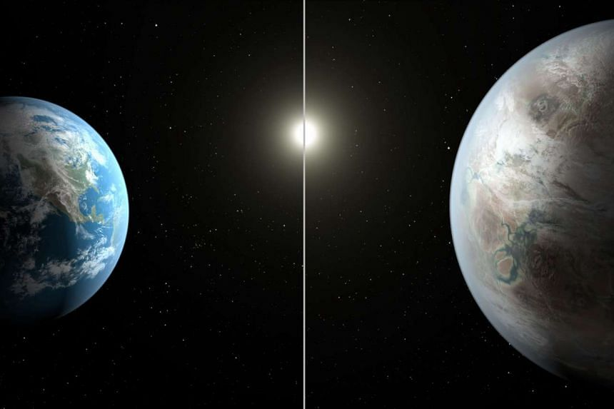 An artist's concept compares Earth (left) to the new planet, Kepler-452b, which is about 60 per cent larger in diameter.