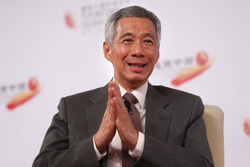 PM Lee at a dialogue session at the Future China Global Forum at Shangri-La Hotel on July 21, 2015.
