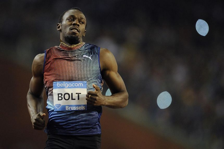 Usain Bolt during the men's 100m race at the Diamond League in Brussels in September 2013.