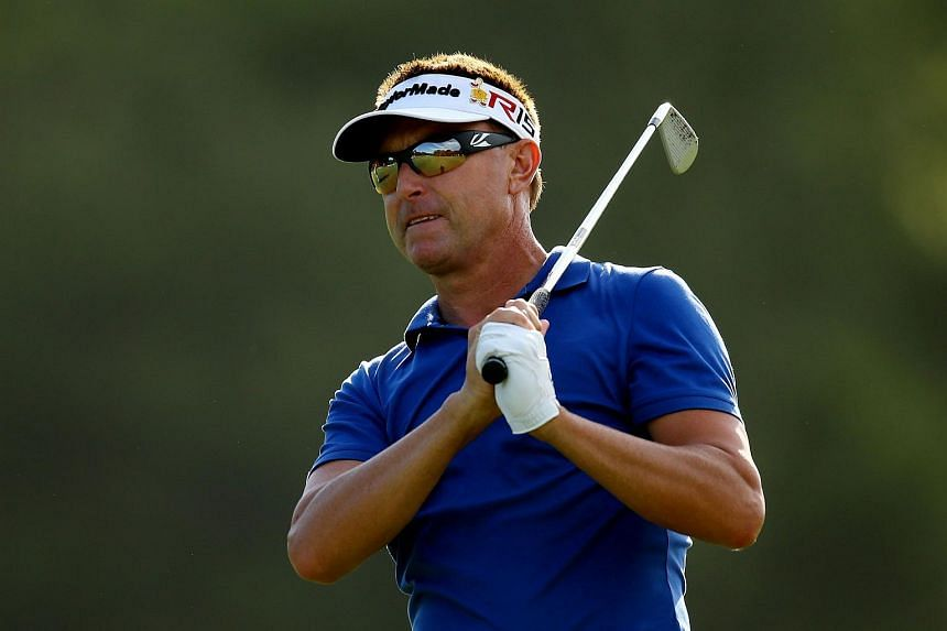 Robert Allenby playing his second shot on the fifth hole at the TPC Sawgrass Stadium course on May 7, 2015.