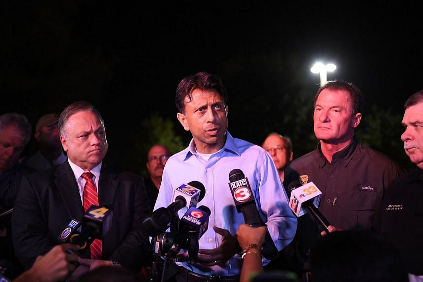 Louisiana governor Bobby Jindal speaking to the media near the Grand Theatre on July 23 in Lafayette.