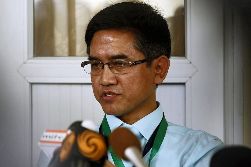 Pu Zing Cung from Chin National Front (CNF) talks to media during a press conference.
