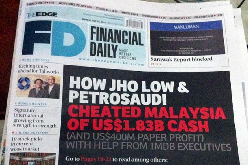 The Edge Financial Daily's report on 1MDB on July 20.
