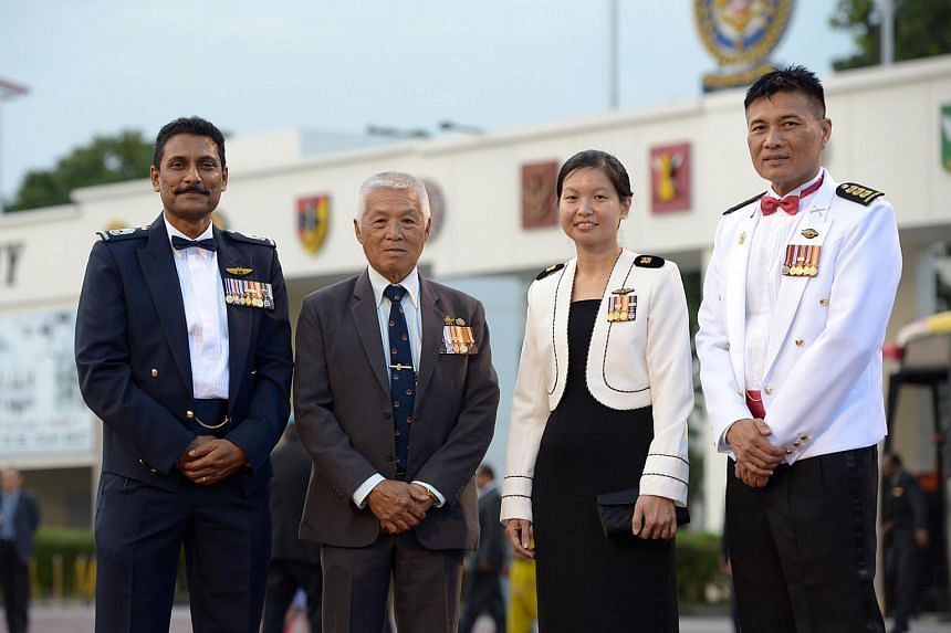 (From left) SWO Selvanathan, LTC (Ret) Tan Kim Peng Clarence, SLTC Jerica Goh and COL (NS) Abu Bakar at the dinner.
