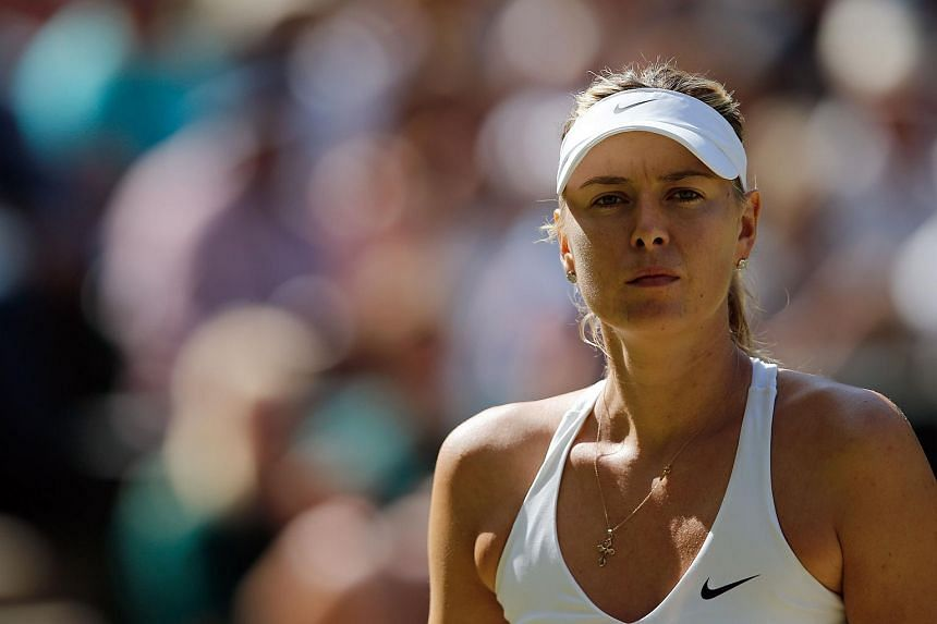 Sharapova during ger women's semi-final match of the 2015 Wimbledon Championships. Sharapova announced that she and Dimitrov were a couple in May 2013.