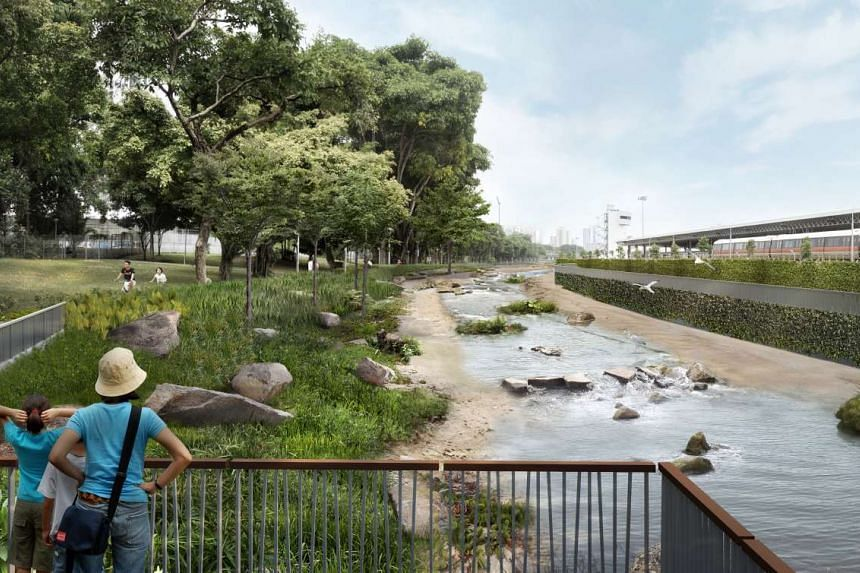 An artist's impression of Kallang River with cantilevered deck.