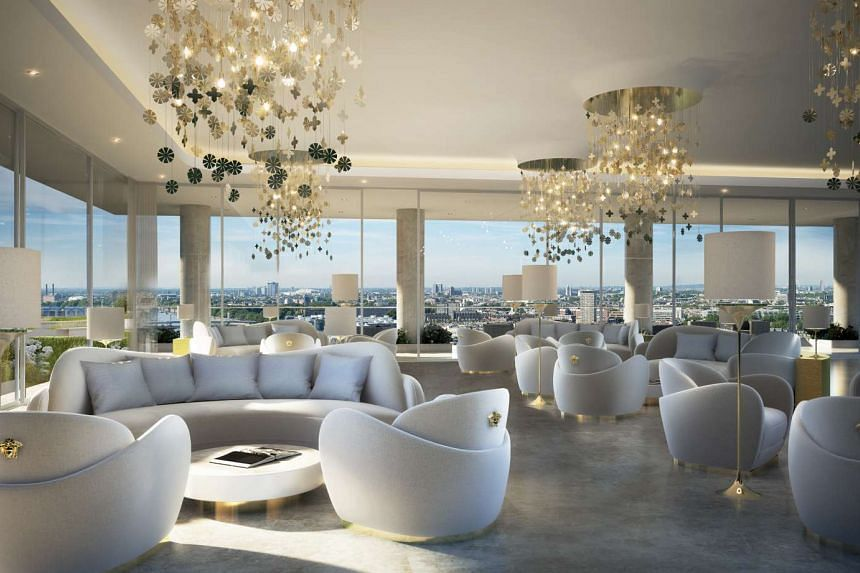 The residents lounge at AYKON Nine Elms.