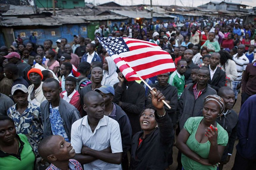 Crowds of Kenyans gather to celebrate the visit by US President Barack Obama.