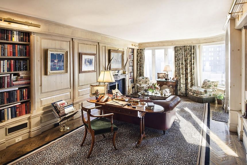 (From top) The formal dining room, the library and Rivers at home in a 2012 picture. The ballroom (right) in the triplex of Joan Rivers. The music room (above) has a high ceiling and gilded antique boiserie panelling.