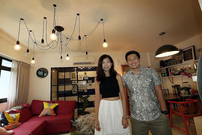 Married couple Goh He Lin and William Toh (both left) reckon they saved about $2,800 by buying four ceiling lamps for a total cost of $300 and two bedside lights for $40 each from Taobao. Mr Stephen Couch and his wife Joanne Chan (both right) bought