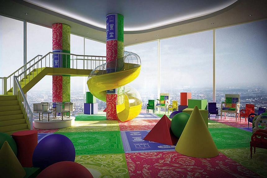 The children's play area in the Aykon Nine Elms luxury- apartment development in London is designed by Versace Junior.