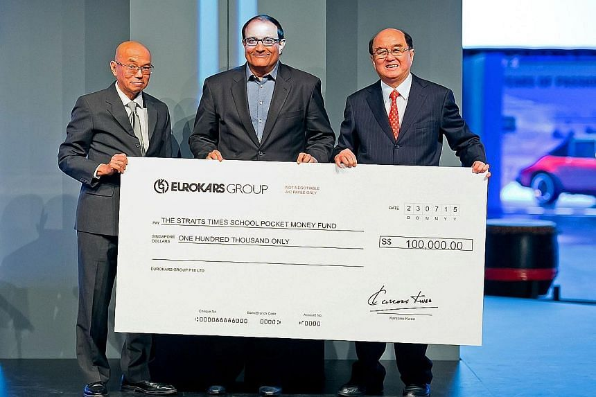 The Eurokars group of companies donated $100,000 to The Straits Times School Pocket Money Fund (SPMF) on Thursday as part of celebrations to mark its subsidiary Stuttgart Auto's 30th anniversary and Singapore's Golden Jubilee. A cheque was presented