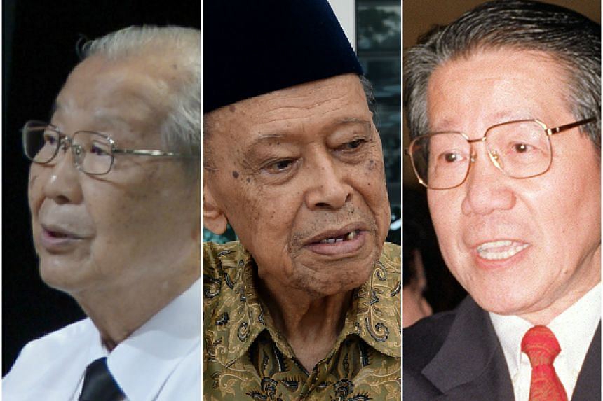 (From left) Messers Ong Pang Boon, Othman Wok and Jek Yeun Thong were among those who signed the Independence of Singapore Agreement.