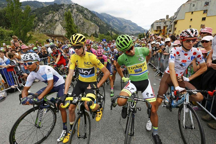 (From left) Quintana, Froome, Peter Sagan of Slovakia and Romain Bardet of France at the start of the 20th stage.