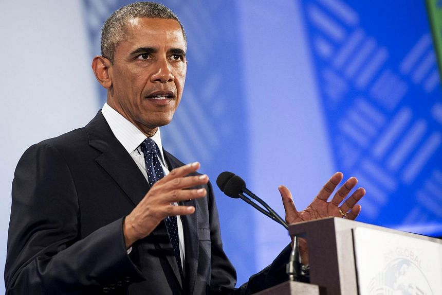 US President Barack Obama giving a speech at the United Nations Compound in Nairobi on July 25, 2015.