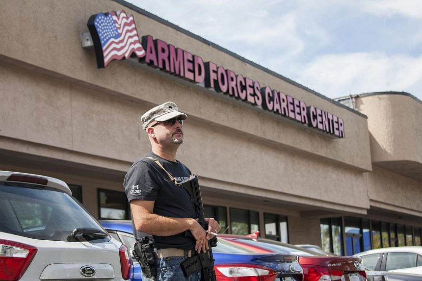 US Army veteran Chris Murphy standing outside a military recruitment centre in Everett, Washington, on July 23.