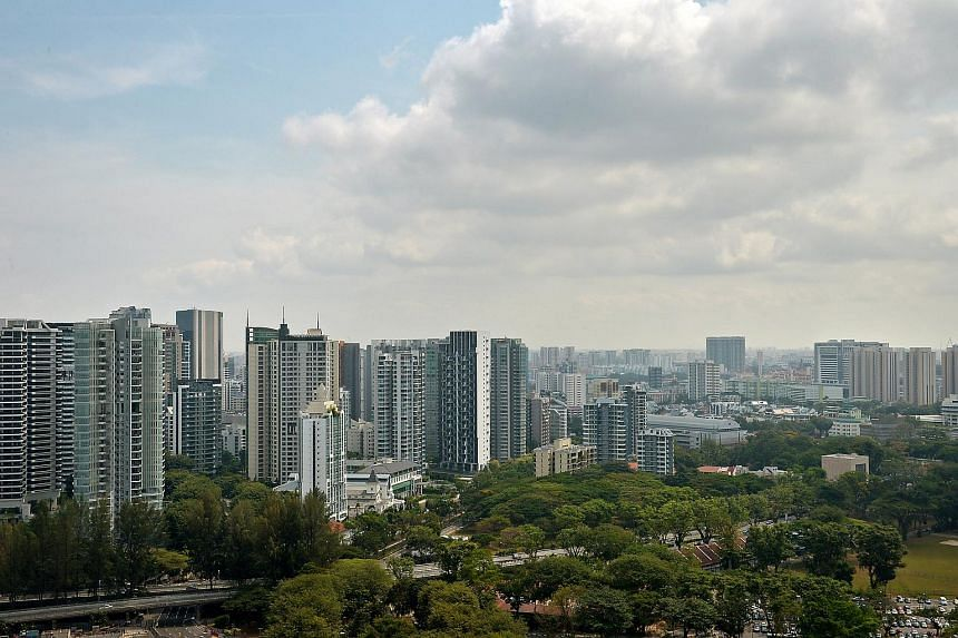 Skyline of the private property, developments and commercial buildings seen from Scotts Road on Feb 18, 2014.