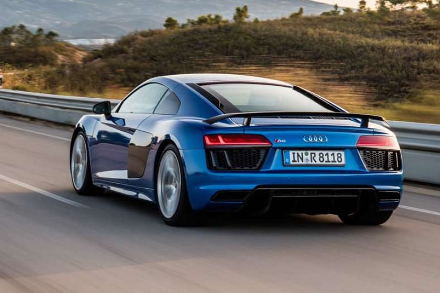 The new Audi R8 is more angular, with a rear deck that slopes more gently and stretches farther back.