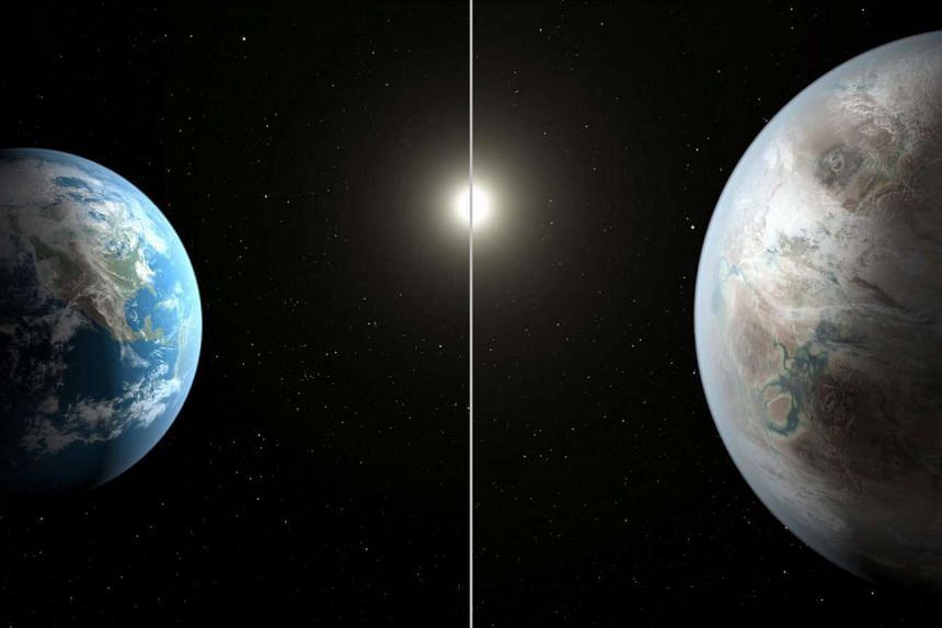 A Nasa illustration showing how Earth (left) would look compared with Kepler-452b.
