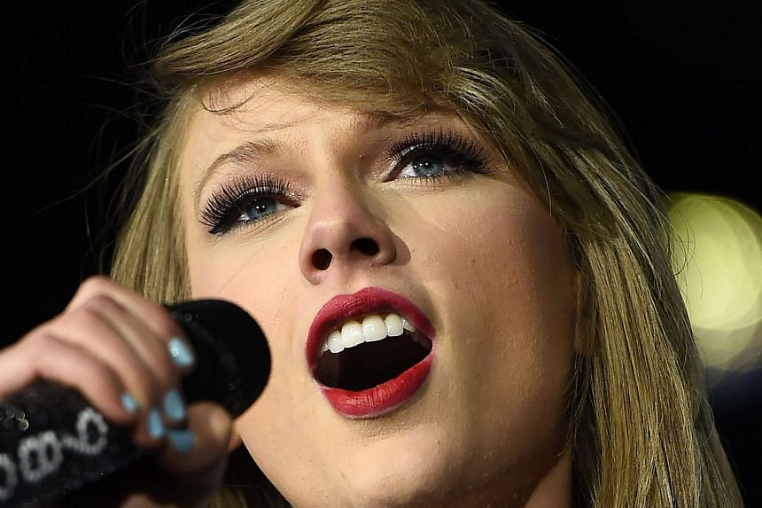 This May 15, 2015 file photo shows Taylor Swift as she performs onstage at the Rock in Rio USA music festival in Las Vegas, Nevada.