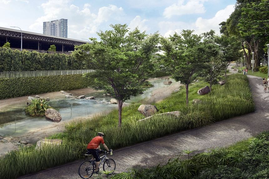 An artist's impression of Kallang River with cascading waters along naturalised slopes.