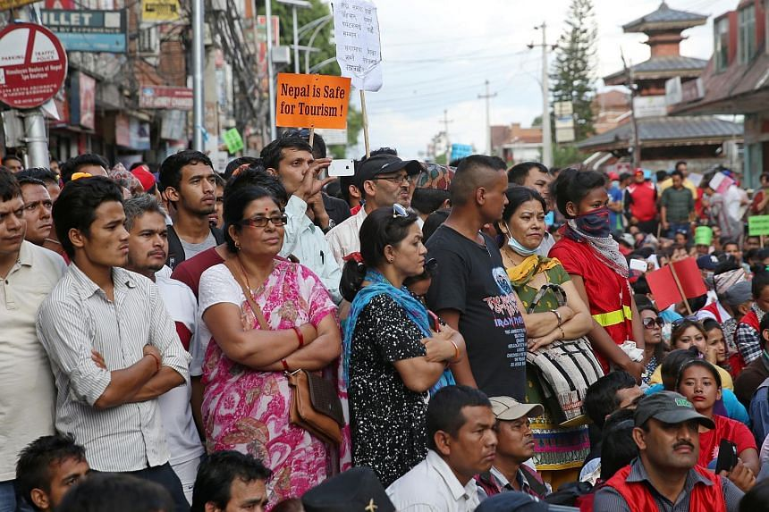 A public rally calling for tourists to return to Nepal held at Thamel, a popular tourist area in Kathmandu, on June 23.