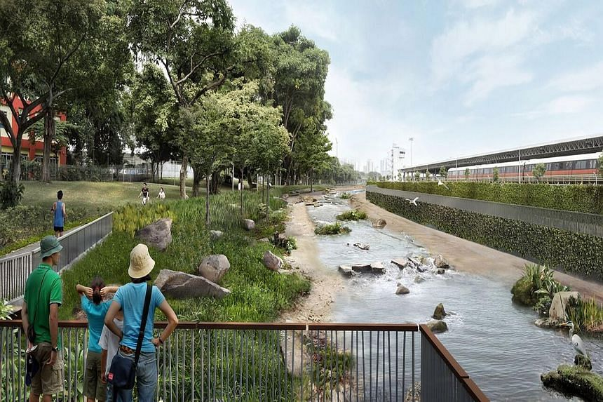 The stretch between Bishan Road and Braddell Road is a concrete canal now (above), but by the end of 2018, there will be plants, rocks and viewing decks (right).