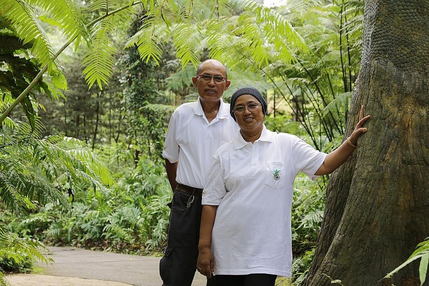 Madam Rasidah Zali and her husband Ali Jasman (both left) met at the Gardens, got married there and also started a family there. Dr Wilson Wong (right) spends weekends shopping for plants at nurseries, which he will try to propagate at home. Ms Chris