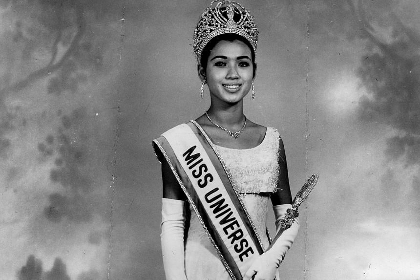 Ms Apasra Hongsakula at a press event in Bangkok for the 2005 Miss Universe pageant. She was just 18 when she took the title in Miami in 1965.