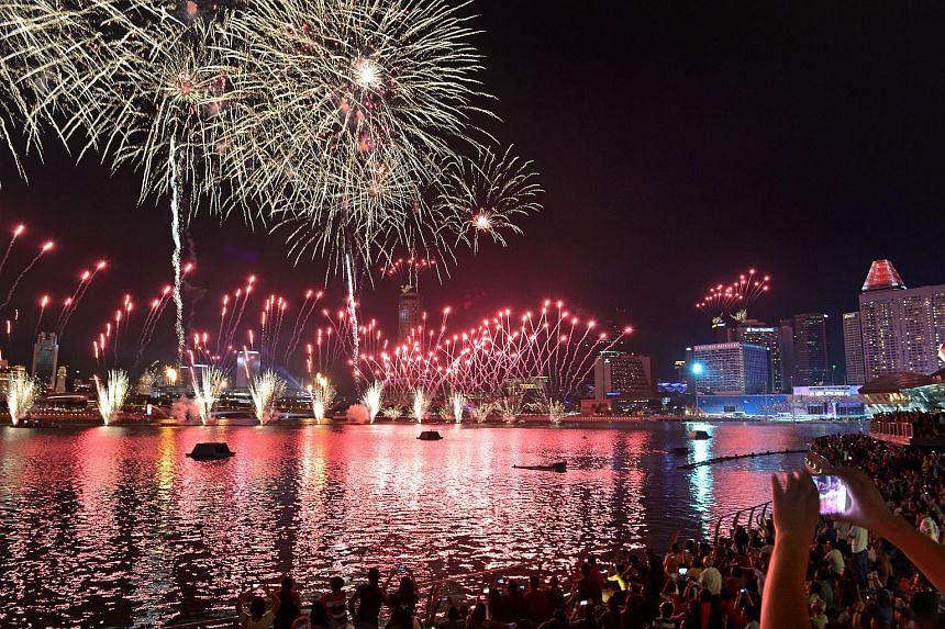 The crowd watching the fireworks display during the finale of the SG50 NDP show from Marina Bay Sands on July 25, 2015.