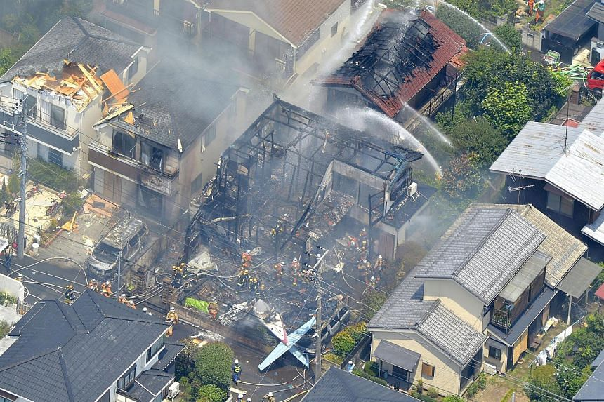 An aerial view of the crash site in Chofu, on the outskirts of Tokyo.