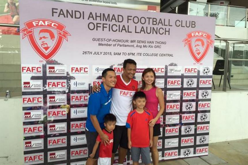 Fandi Ahmad (centre) at the launch of the Fandi Ahmad Football Club (FAFC) at ITE College Central on Sunday.