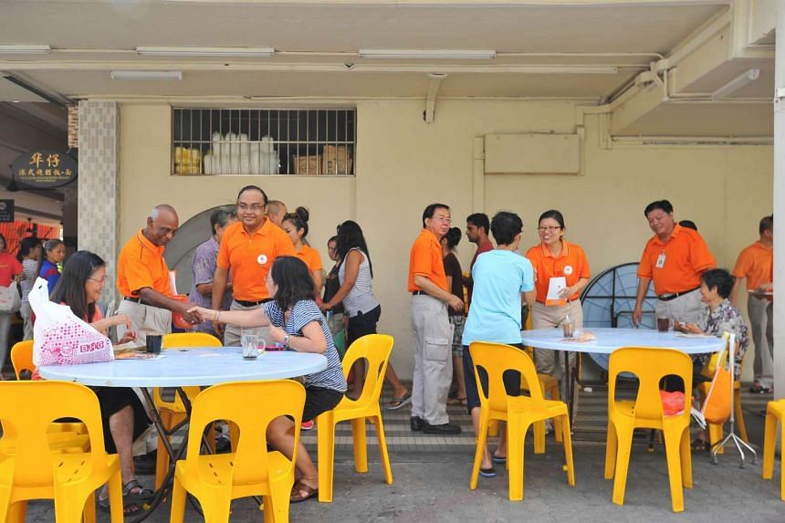 The National Solidarity Party's (NSP) leaders meeting residents of Tampines GRC on July 26, where a team from the party contested in 2011.