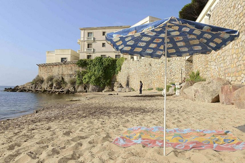 The public beach below the villa owned by King Salman of Saudi Arabia in the Cote d'Azur resort of Vallauris, near Cannes. French police have closed off the area, including access by sea, for reported security reasons during the king's visit, prompti