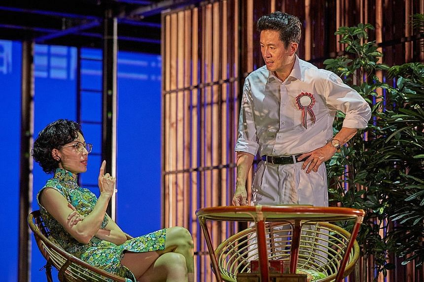 The LKY Musical is let down by the exchanges between Adrian Pang and Sharon Au (both right), who play Mr Lee Kuan Yew and Madam Kwa Geok Choo, which come across as soppy and forced.