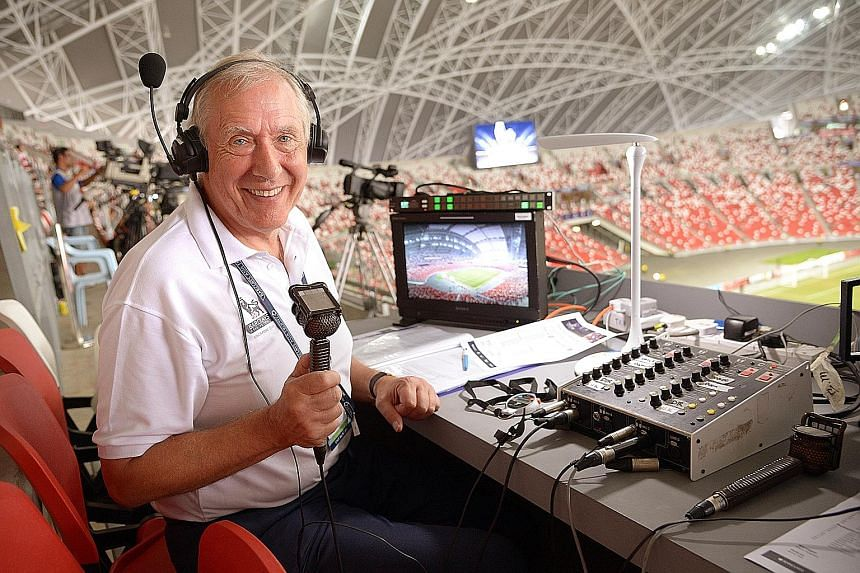 EPL commentator Martin Tyler in Singapore for the Barclays Asia Trophy. He once got the hair-dryer treatment from Alex Ferguson.