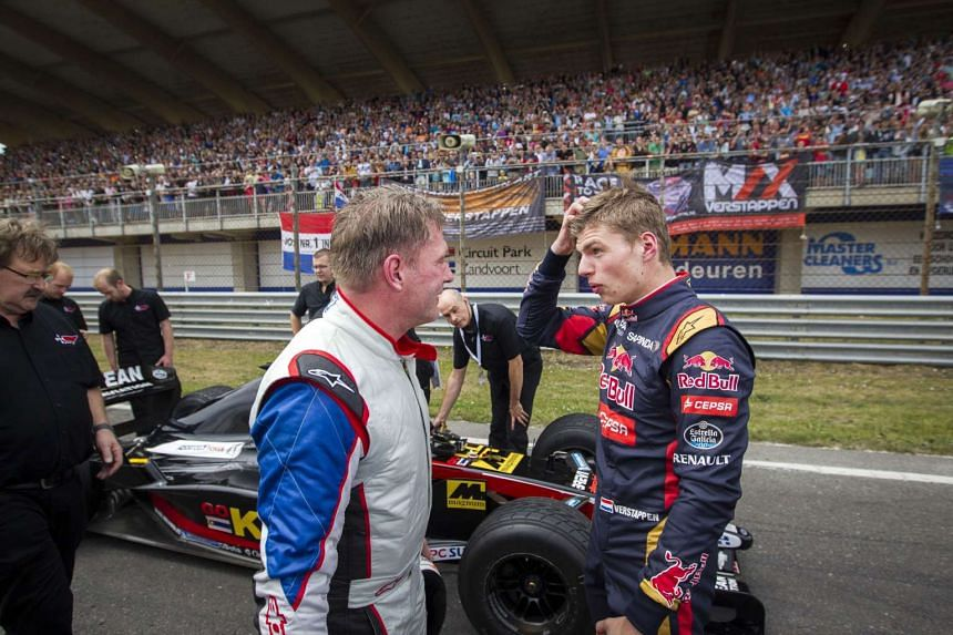 Dutch Formula One driver Max Verstappen (right) and his father Jos take part in the Italia a Zandvoort event at the Circuit Park in Zandvoort.